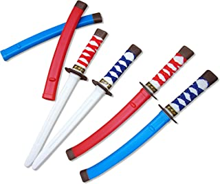 Dazzling Toys Pack of 12 Plastic Samurai Swords Measuring 17 Inches | Cloth Wrapped Handles