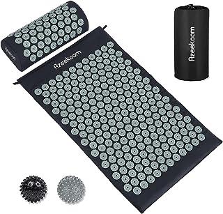 Azeekoom Acupressuur Mat kussenset, acupressuur mat+acupunctuur kussen voor ontspanning+2 gekruide massageballen voor rug/...