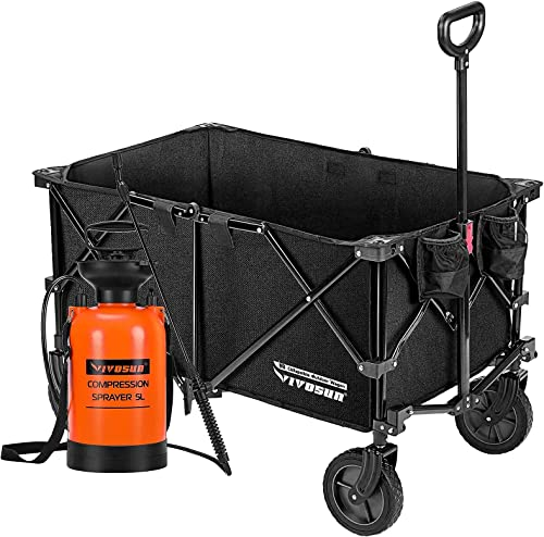 new arrival VIVOSUN Heavy Duty Collapsible Folding Wagon Utility Outdoor popular Camping Garden Cart with Universal Wheels & Adjustable Handle, Black with 1.3 Gallon new arrival Lawn and Garden Pump Pressure Sprayer outlet sale