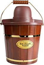 Nostalgia ICMW400 Electric Bucket Ice Cream Maker With Easy-Carry Handle, Makes 4-Quarts in Minutes, Frozen Yogurt, Gelato, Made From Real Wood