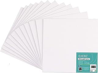 Exerz Lot de 12 Panneaux de Toile 20x20cm/ Cartons entoilés/Tableaux en Toile à Peindre/280GSM/ 100% Coton Pré-étiré/Vierg...