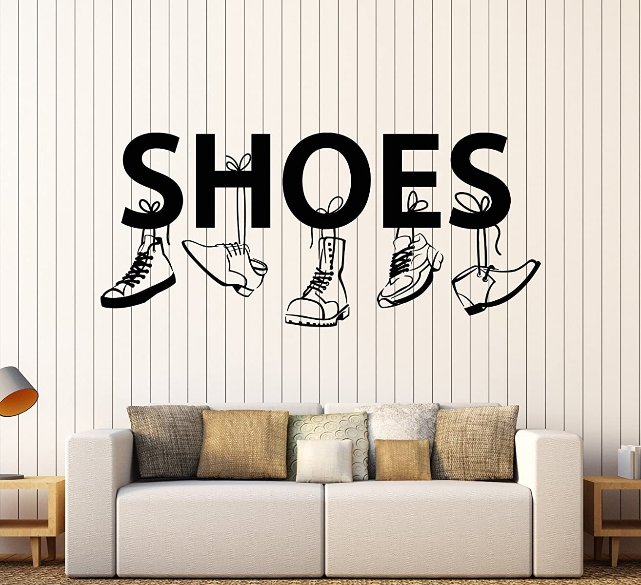 Vinyl Wall Decal Shoe Shop For Men Boot Sneakers Signboard Stickers Large Decor (1558ig)