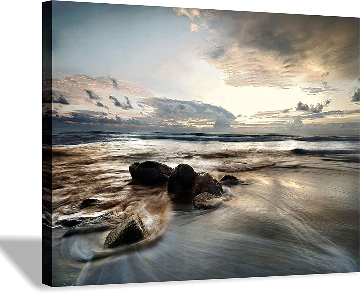 Beach Picture Canvas Wall Art: Rocky Wave Artwork Sunset Painting Seascape Print for Office (16'' x 12'' x 1 Panel)