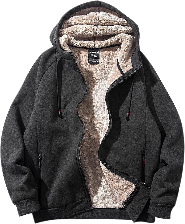 Yeokou Men's Outdoor Warm Weekly update Sherpa Sweatshirt Zipper Hooded Lined Oklahoma City Mall