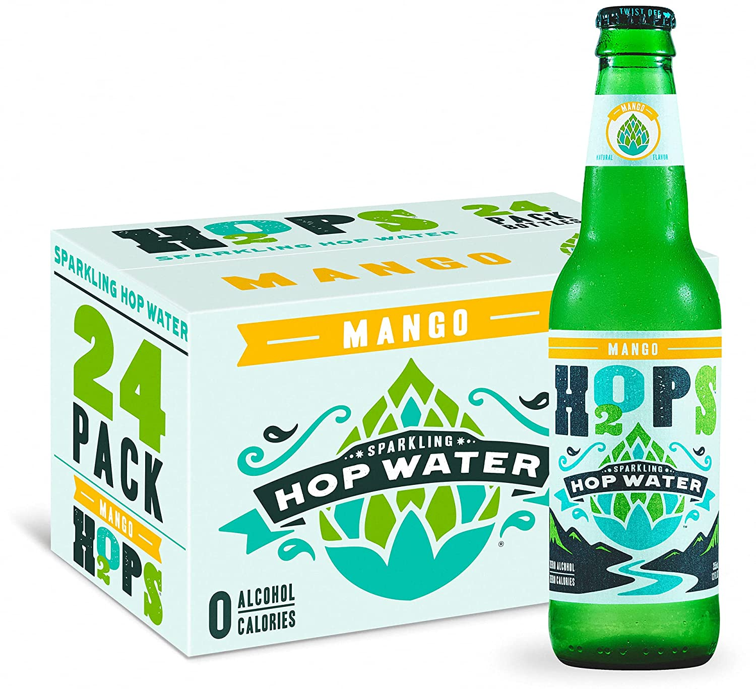 H2OPS Sparkling Ranking TOP19 Max 45% OFF Hop Water - Mango 24 Calorie Alcohol 0 Pac