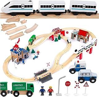 Kinderplay drewniana kolejka, zestaw tory, pociąg, na baterie, posterunek policji, GS0010