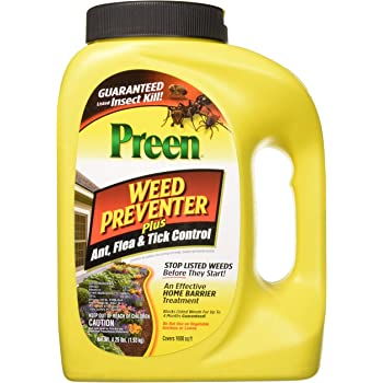 Preen 2464189 Weed Preventer Plus Ant, Flea, & Tick Control - 4.25 lb. - Covers 1,000 sq. ft.