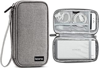 BOONA Grey Single Layer Travel Electronics Organizer, Portable Carrying Pouch for Power Bank, Phone, Wall Charger, USB Cab...