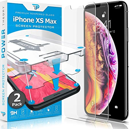 Power Theory Screen Protector for iPhone Xs MAX [2-Pack] with Easy Install Kit [Premium Tempered Glass]