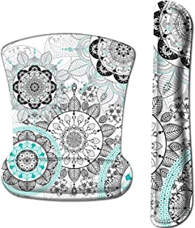iLeadon Keyboard Wrist Rest Pad and Mouse Wrist Rest Support Mouse Pad Set, Non Slip Rubber Base Wrist Support with Ergonomic Raised Memory Foam for Easy Typing & Pain Relief, Mandala Flowers