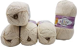 Alize Cotton Gold Lot de 5 pelotes de laine à tricoter 55 % coton, 500 g de laine unie (beige clair 67)
