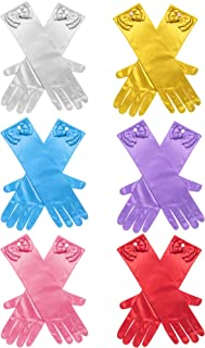 6 Pairs Girls Satin Gloves Princess Dress Up Bows Gloves Long Formal Gloves for Party, Ages 3 to 8 Years Old