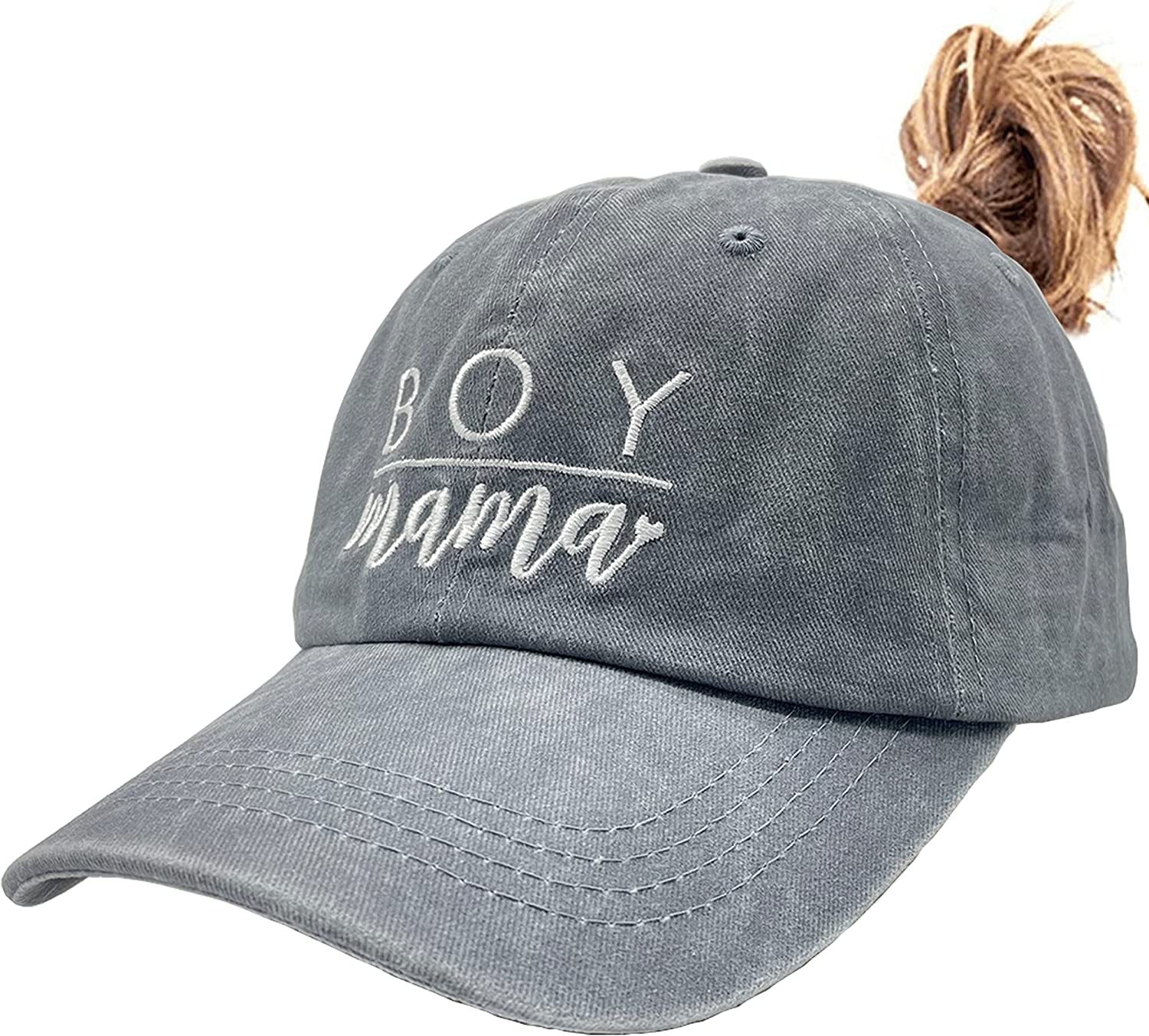 Women's Embroidered Ponytail Baseball Cap Boy Mama Mom Vintage Distressed Dad Hat