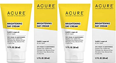 product image for Acure Brilliantly Brightening Day Cream (Pack Of 2) with Gotu Kola Stem Cells, Chlorella Growth Factor, Aloe Vera Juice, Safflower Seed Oil and Red Mandarin Oil, For Normal To Dry Skin, 1.75 Fl. Ounce