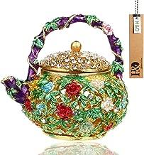 YUFENG Mini Teapot Trinket Box Hinged For Girls Ring Holder Handmade Ring Holder Dish Decorated (teapot)