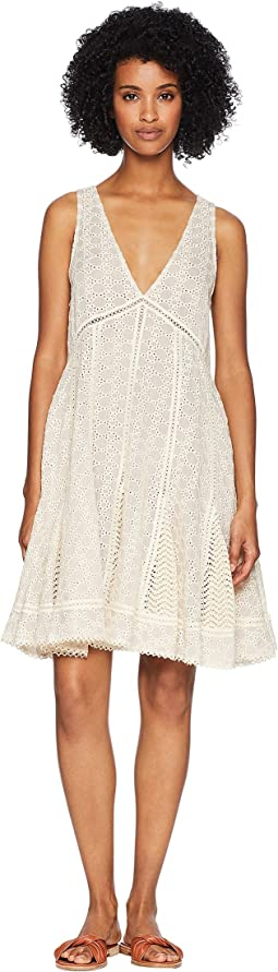 Embroidered Voile Godet Mini Dress Cover-Up