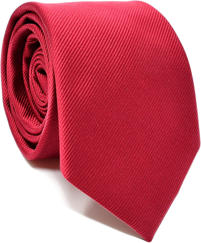 Oxford Collection Corbata de hombre Rojo Burdeos - 100% Seda - Clásica, Elegante y Moderna - (ideal para un regalo, una boda, con un traje, en la ...