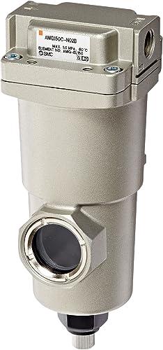 """SMC AMG150C-N02B Water Separator, Manual Drain, 300 L/min, 1/4"""" NPT, Mounting Bracket"""