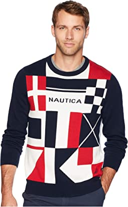 9 Gauge Signal Flags Intarsia Sweater