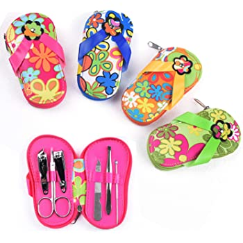 Spove Manicure Set Polka Dot Flip Flop Nail Clippers Sandal Floral Pedicure Set Pack of 4 sets