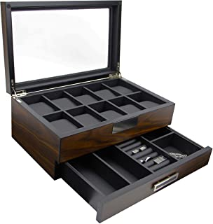 Executive High Class Wood Watch, Sunglasses,Cufflink Case & Ring Storage Organizer Men's Jewelry Box Gift (Walnut)