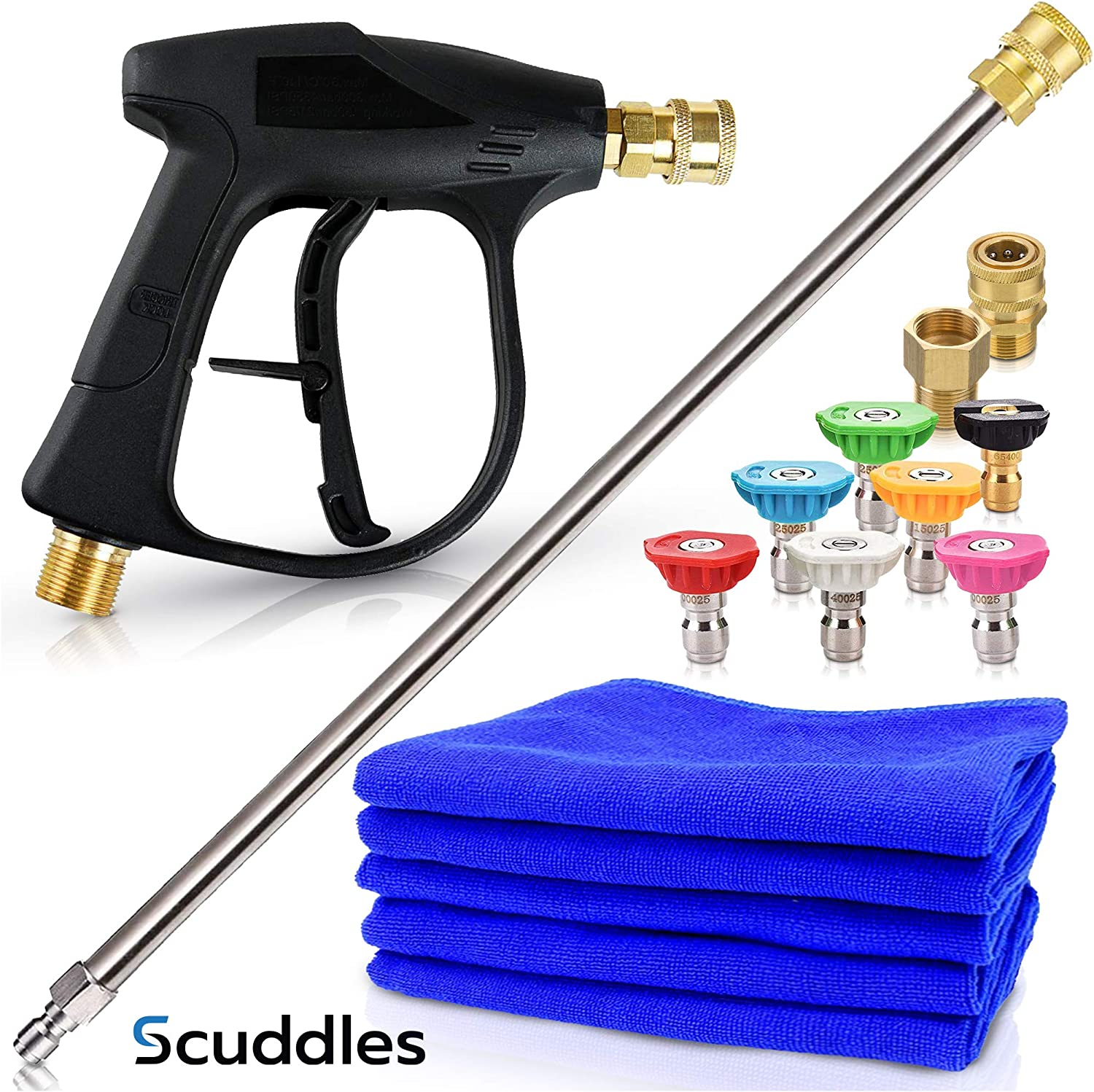 Scuddles Pressure Washer   Wand Extension   Pressure Washer   Upgraded 2021 Model for Cars Full Kit Includes 3 Micro Fiber Towels and Sponge for Detailing Cars Or SUVS Pressure Washer Mega Set : Patio, Lawn & Garden