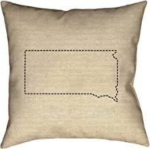 """ArtVerse Katelyn Smith South Dakota Outline 16"""" x 16"""" (Pillow Cover Only) Pillow-Cotton Twill Double Sided Print with Concealed Zipper"""