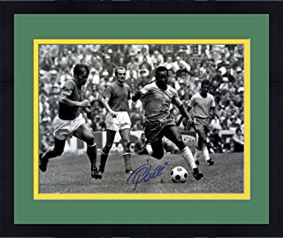 "Framed Pele Brazil Autographed 16"" x 20"" Black & White Horizontal Running Photograph - Fanatics Authentic Certified"
