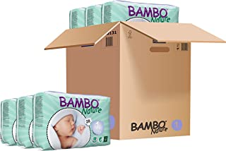 Bambo Nature Premium Baby Diapers - Extra Small Size, Monthly Pack 168 Count, for New Born (0-1 Month) - Super Absorbent and Eco-Friendly