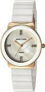Anne Klein Women's AK/2714WTGB Diamond-Accented Gold-Tone and White Ceramic Bracelet Watch