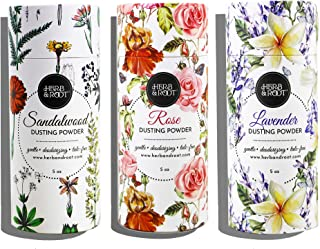 Talc Free Perfumed Body Dusting Powder Set of 3 with Rose, Lavender, and Sandalwood | Herb & Root