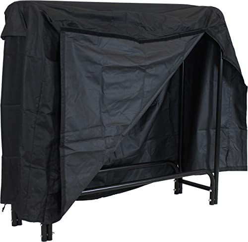 popular Sunnydaze outlet online sale 4-Foot Firewood lowest Rack Outdoor with Cover COMBO - Heavy-Duty Steel Outdoor Log Holder - Black outlet sale