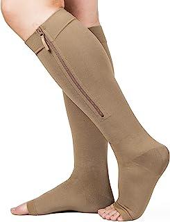 Zipper Compression Socks 20-30mmHg, Open Toe Compression Socks with Wide Calf