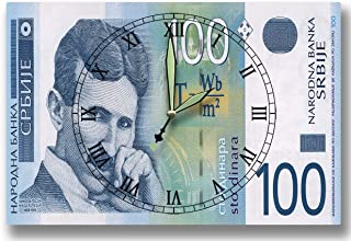 Money Clocks Nikola Tesla Bank of Serbia Series 2003 100 Serbian Dinar 8 x 12 inch Wall Clock Electrical Engineer