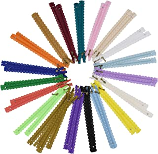 Lace Zippers for Sewing, Exposed Novelty Zippers with Decorative Lacy Edge for Sewing; 8 Inch Bulk 40 PCs, 20 Assorted Col...