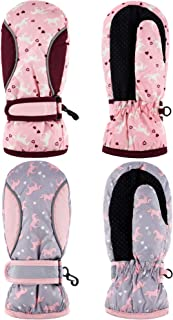 2 Pairs Kids Ski Mittens Girls Ski Gloves Waterproof Warm...