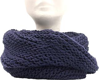 CG - Talento Fiorentino, scaldacollo tubolare lavorato a maglia, invernale, sciarpa ad anello intrecciato col. Blu scuro, ...