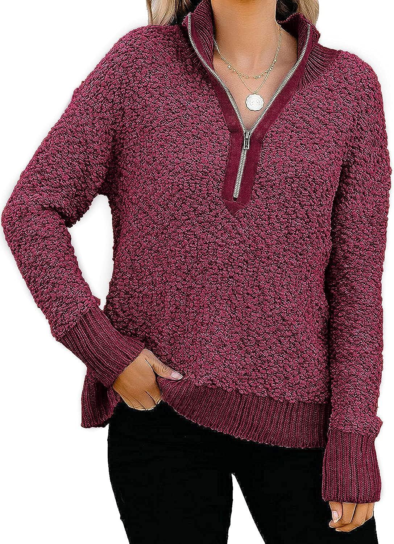Yousify Womens Casual Zipper Fleece Pullover Sweater Long Sleeves Turndown Collar Outwear Jacket