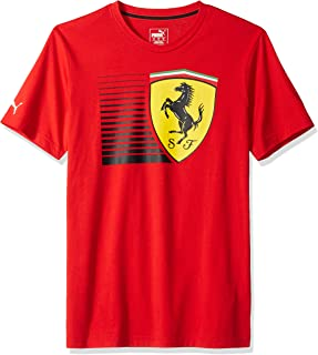 PUMA Mens Formula 1 Scuderia Ferrari Big Shield Tee, Rosso Corsa Light Red, S