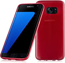 Cadorabo Case Works with Samsung Galaxy S7 Edge in RED – Shockproof and Scratch Resistant TPU Silicone Cover – Ultra Slim Protective Gel Shell Bumper Back Skin