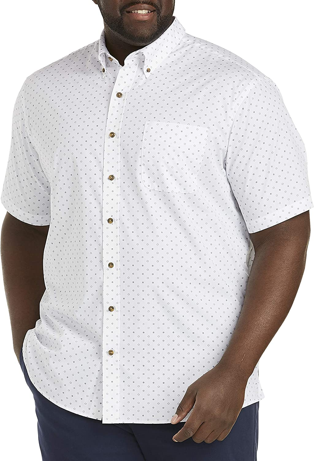 Harbor Bay by DXL Big and Tall Easy-Care Geo Dot Stripe Sport Shirt, White