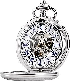 TREEWETO Men's Steampunk Skeleton Mechanical Silver Fob Retro Pocket Watch