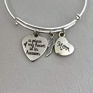 Memorial Gift for Loss of Mother Bracelet, A piece of my heart is in heaven