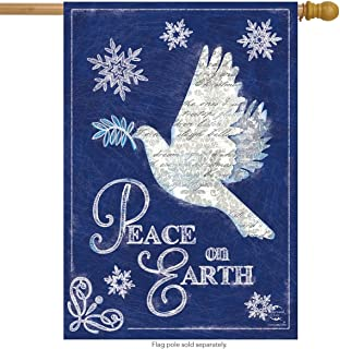 Briarwood Lane Peace On Earth Christmas House Flag Dove Snowflakes 28