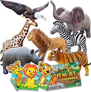 Jet Creations Inflatable Wildlife Animal Figurines 7pk Bundle, with 3 Note Pads 1 Coloring Book, Realistic Blow up and Sta...
