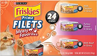 Purina Friskies Canned Wet Cat Food 24 Count Variety Packs  – (24) 5.5 oz. Cans
