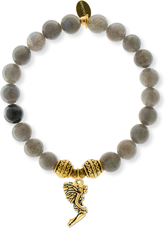 EvaDane Natural Labradorite Gemstone Tibetan Bead Fairy Charm Stretch Bracelet