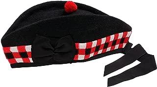 SCOTTISH PIPER HAT 100% PURE WOOL BLACK GLENGARRY TRIPLE DICED HAT