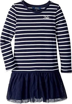 Striped Terry-Tulle Dress (Little Kids)