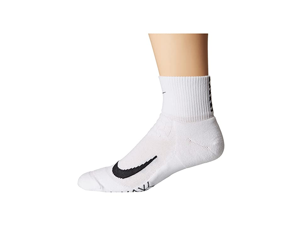 Nike Elite Cushion Quarter Running Socks (White/Black) Quarter Length Socks Shoes